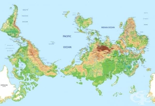 """Австралия. """"Кой каза, че север трябва да е на върха/отгоре? """"- помислили си австралийците и просто обърнали картата на света. В резултат Австралия сякаш ръководи цялата планета."""
