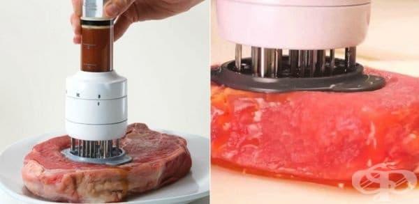 Уред за шпиковане на месо с добавяне на марината в него.