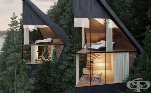 Долното ниво е формирано като зона за почивка или четете, а на горното ниво е разположена спалня с малка баня. Двете нива са свързани с вътрешно стълбище.