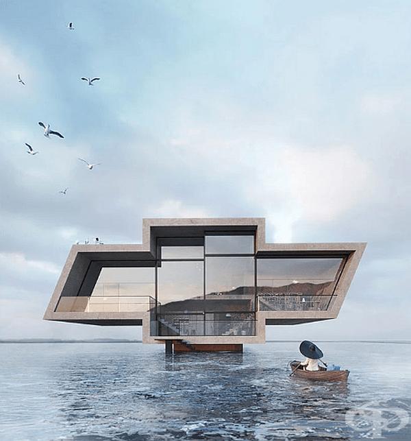 """Втората сграда е кръстена """"Crosshouse"""" и е построена във формата на логото на Chevrolet във вода. От страната на трапезарията и всекидневната фасадата е със стъкло, а от страна на спалните с бетон. Общата площ е 245 кв.м."""