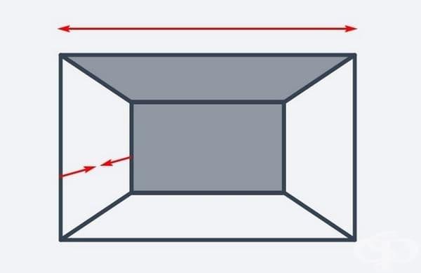 Ако стаята ви е тясна, използвайте една и съща цветова схема за задната стена и тавана. Това ще направи стаята визуално по-широка, но ще намалява нейната дълбочина.
