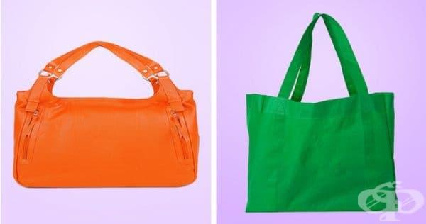 Кожени чанти и торбички за многократна употреба. Тези материи могат да се изперат с мек перилен препарат на ниски градуси. По възможност без центрофуга.