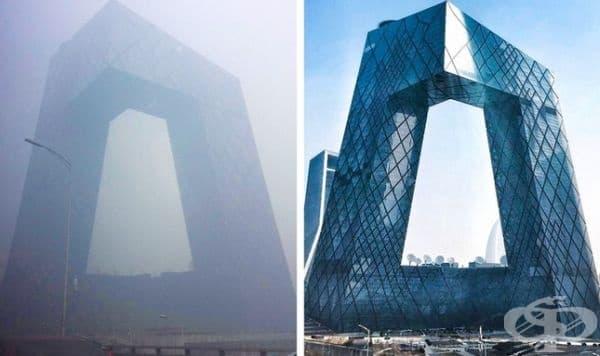 Сградата на китайската централна телевизия (CCTV) в Пекин по време на силен смог, януари 2017 г.
