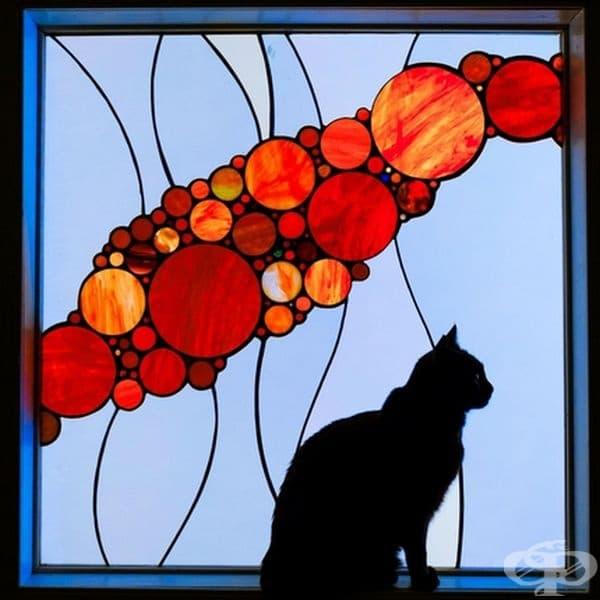 """""""Котката ми на фона на стъклописа""""."""