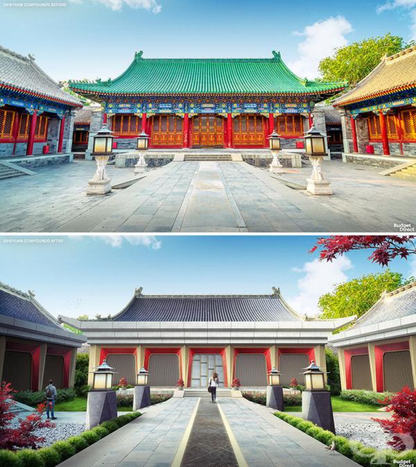 Siheyuan постройки в Китай. Новите колони и фасади се отличават с ъглови повърхности, създавайки изчистена, но кинетична вибрация. Оригиналните покриви са запазени, но са добавени слънчеви панели. Дворът е променен за медитация и игра.