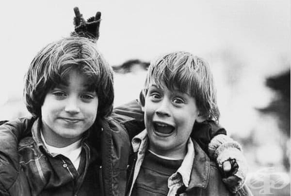 """Илайджа Ууд и Маколи Кълкин, 1993. (Момчетата стават приятели, докато заснемат """"Добрият син"""".)"""
