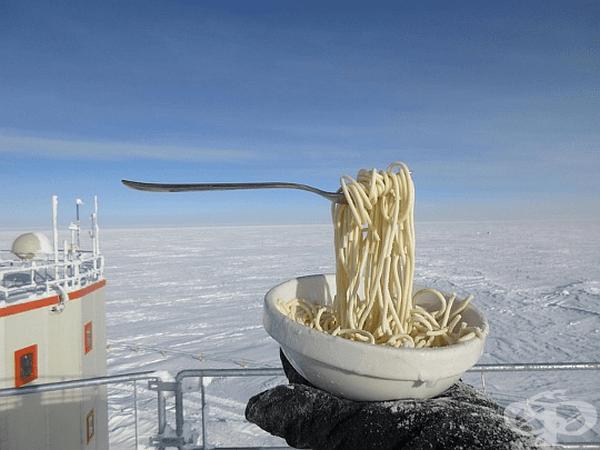 Ето как изглеждат спагетите, когато навън е -60 ° C.