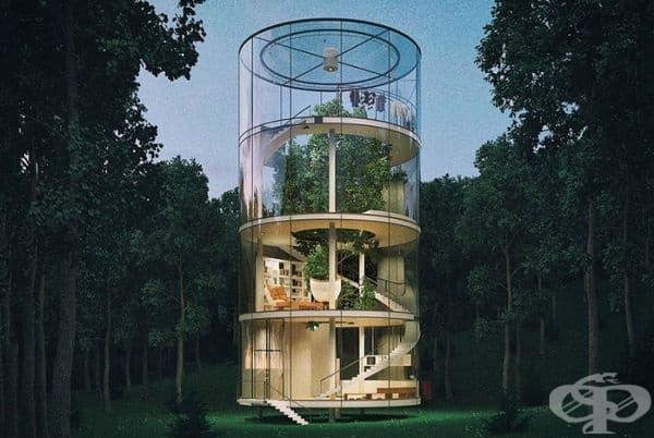 Идеята за такъв дом възниква по време в студентските години на Алмасов. Той е живял в апартамент с изглед към гората и винаги е мечтал някога да живее сред природата. След като приключва проекта го публикува в своя сайт и забравя за него.