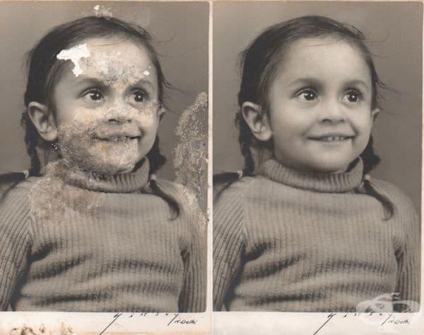 Единствена снимка на момиченцето. Снимката е била повредена от течност.