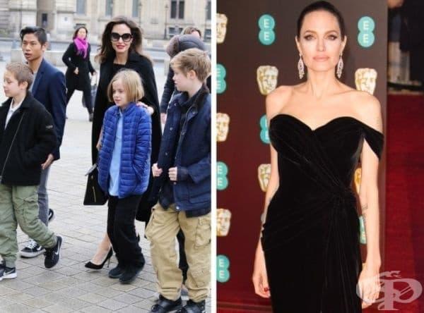 Анджелина Джоли има 6 деца, като три от тях са осиновени. За поддържането на идеална форма актрисата практикува йога, аеробика и кикбокс.