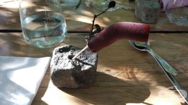 Малинов сладолед на пръчка, забита в парче скала и клонка.