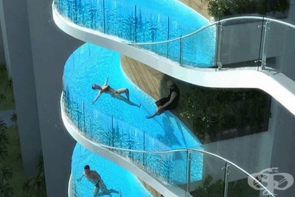 Aquaria Grande в Мумбай. Това е може би най-луксозния апартамент в цяла Индия. Жилищният комплекс се състои от две 37-етажни кули с басейни, разположени на балконите. Комплексът действа като хотел с всички удобства, така че можете да наемете стая!