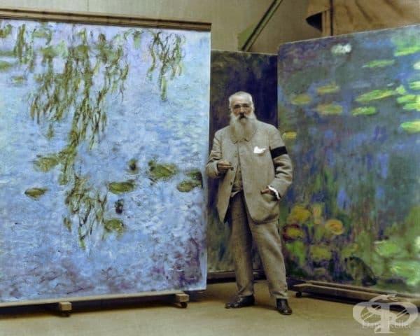 Клод Моне с неговите картини, 1923г. (оцветено от Дейна Келър).