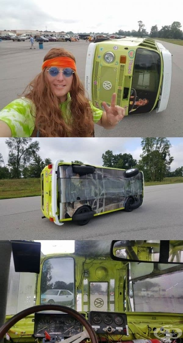 Ужасна автомобилна катастрофа? Не! Просто автобусът се движи така. Вътре има пътническа кола.