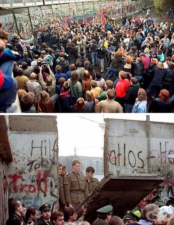 Падането на Берлинската стена. След победата над фашизма в Германия, през 1989 г. Берлинската стена с дължина 155 кл, разделяща столицата, бе срината завинаги, променяйки пътя и лицето на града.