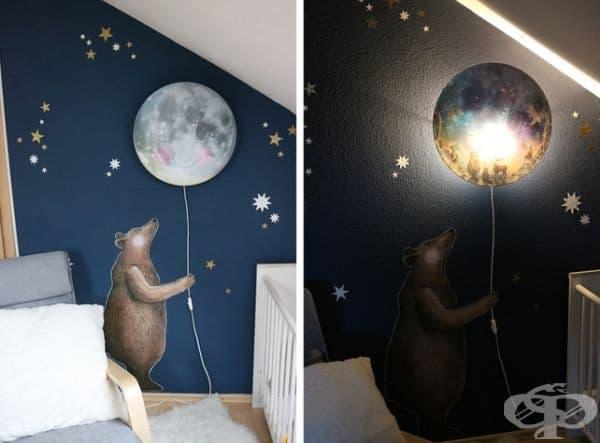 Лампа - луна. Комбинацията от тъмно синя стена, изображение на мечка, която включва светлината и искрящи звезди могат да превърнат стандартната стая в истински свят на сънищата.