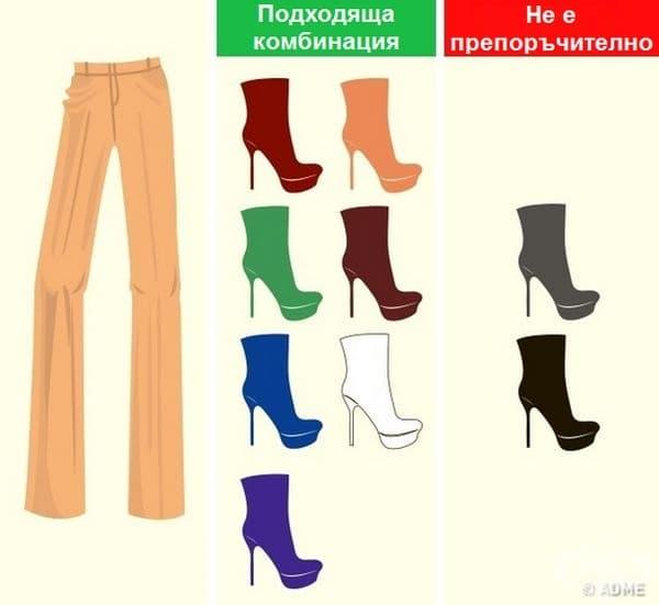 Светлокафяво. На подобен цвят не стои добре черното или сивото. При правилно подбран нюанс на дрехата дори червеното и зеленото са добър избор.