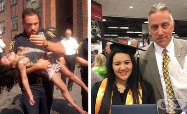 Този офицер е спасил 5-годишно момиче от изгаряща сграда през 1998 г. 10 години по-късно тя го кани на своето дипломиране.