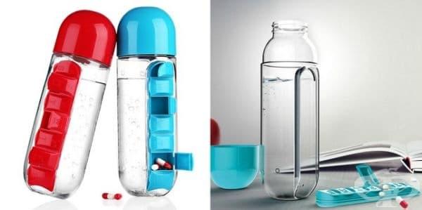 Бутилка за вода с органайзер за витамини или таблетки.