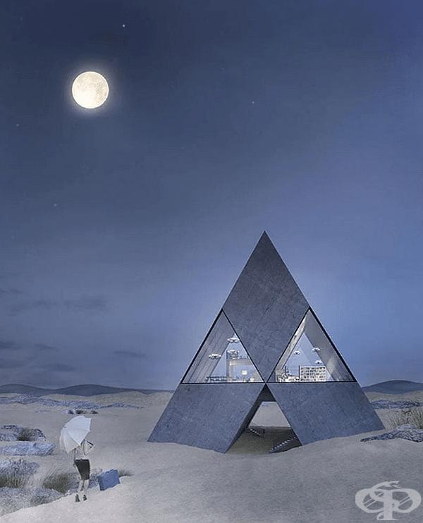 """Третата сграда """"Pyrahouse"""" е с диамантена форма и наподобява логото на Mitsubishi. Долната част на къщата с площ от 320 кв.м. е напълно бетонирана. На приземния етаж има хол, кухня, трапезария и библиотека. В горната част на пирамидата има спалня и баня."""