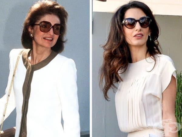 """Жаклин Кенеди/Амал Клуни. Жаклин Кенеди е призната модна икона, вдъхновяваща и съвременните дизайнери. Амал Клуни също мигновено се превърна в """"стилна икона"""". И двете дами се отличават с елегантна и благородна визия, съпътствана с големи кръгли очила."""