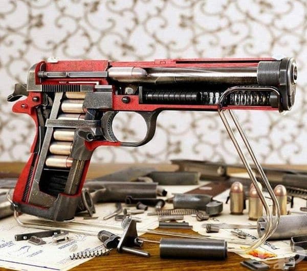 Вътрешността на пистолет.