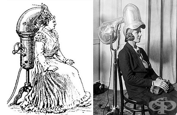 Сешоар. Първите сешоари за коса са изобретени в края на XIX в. Те са представлявали огромни устройства, под които жените са завъртали глава. В началото на ХХ в. вече са по-компактни и са се използвали във фризьорски салони.