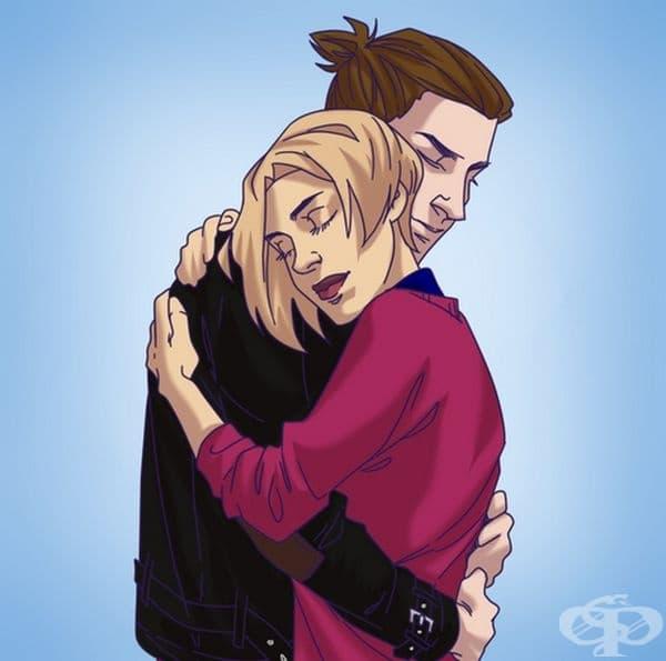 Прегръдка сърце до сърце. Може би това е най-романтичната прегръдка. Тя е успокояваща, всеотдайна, нежна и даваща подкрепа. Понякога с подобна прегръдка единият партньор търси одобрението на другия.