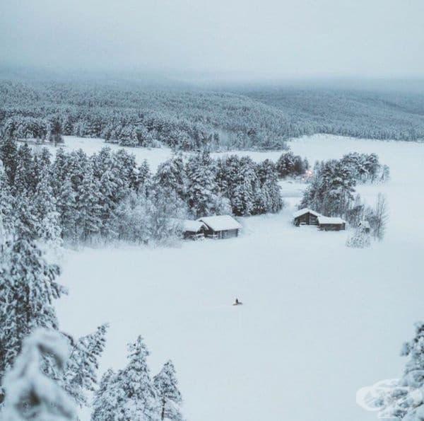 Зима в Република Карелия, Русия.