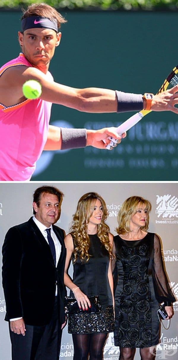 Рафаел Надал. Втората ракета на света все още живее със семейството си. Испанският тенисист вярва, че то е свещеното, неприкосновен център на неговия живот и стабилност. Той свързва успехите си с подкрепата и храненето, които неговите роднини му дават.