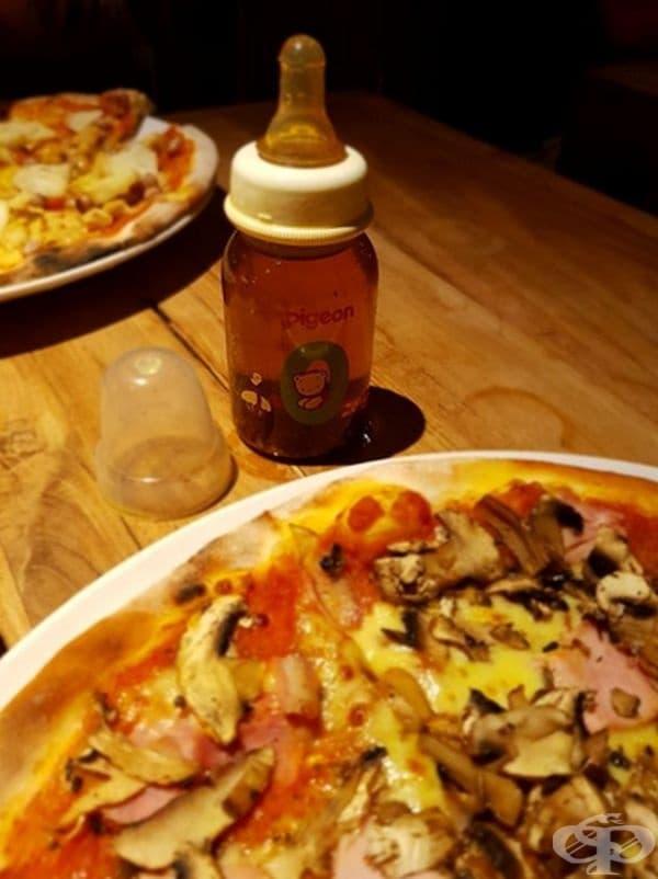 Маслото за пица се използва по-лесно от бебешко шише.
