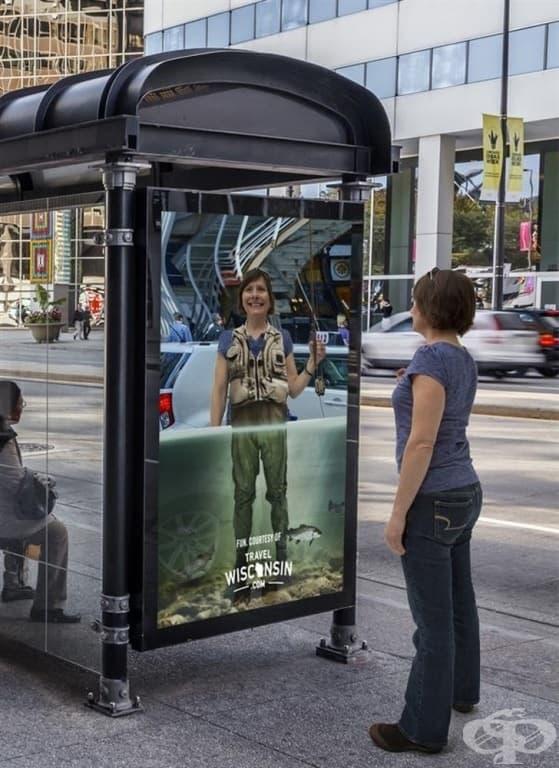 Забавните огледала на автобусната спирка облекчават стреса.