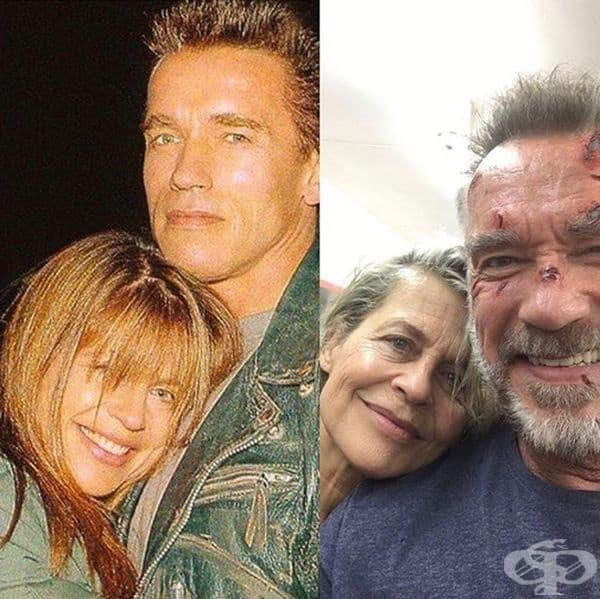 """""""Терминатор"""", 1991 и 2018 г. През 2018 г. Арнолд Шварценегер поздрави """"Сара Конър"""" (Линда Хамилтън) за рождения й ден и сподели, че ще му бъде приятно да работи отново с нея. През октомври 2019 ще можем да се насладим на новата версия на The Terminator."""