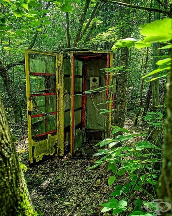 Старата телефонна кабина.