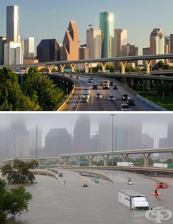 """Тропическият циклон """"Харви"""" удари Тексас в резултат на силни дъждове през август 2017 г. - истинско апокалипстично наводнение. Това са реални снимки, а не сцени от американски филм."""