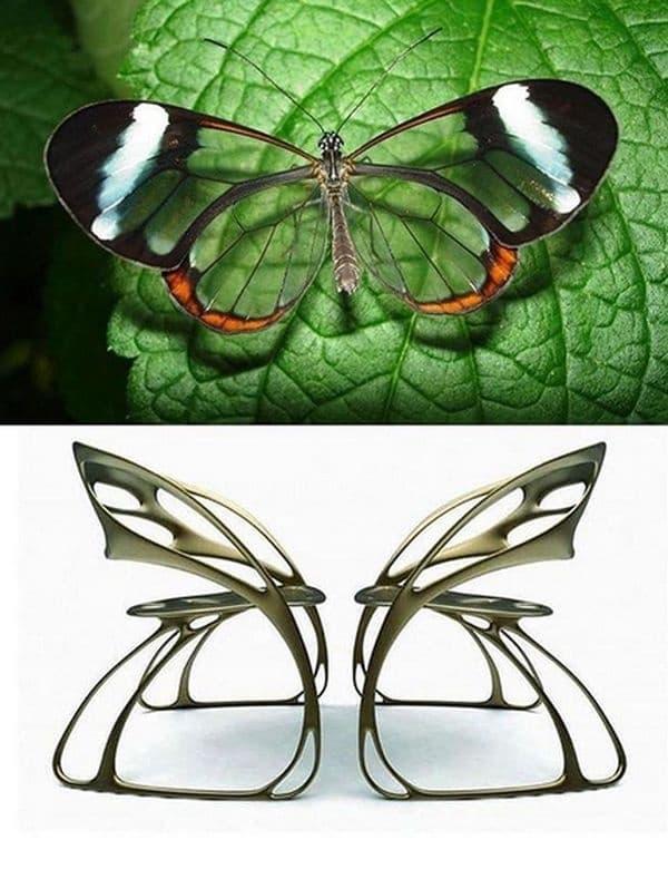 Столове, наподобяващи пеперудени крила.