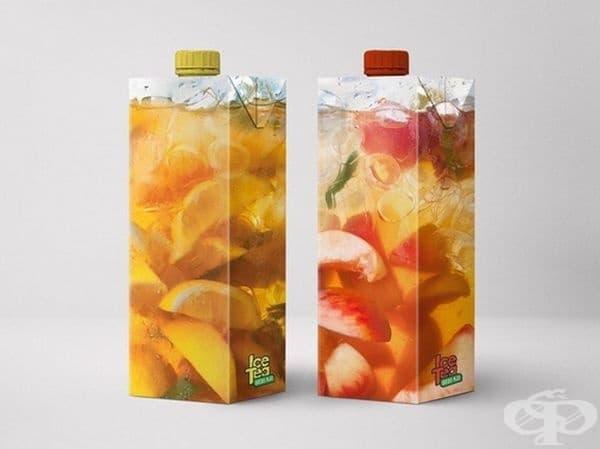 Студен чай в прозрачна опаковка.