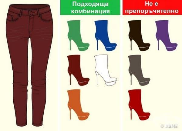 Тъмночервени панталони. Комбинацията с подобен цвят е наистина сложна. Откажете се от черното, сивото и червеното. Със зелено и синьо обаче се получава интересна визия.