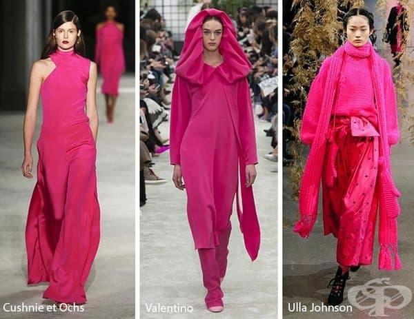 Фуксия - пурпурно розовият цвят ще бъде основна тенденция през есента. Този цвят се появи на подиума на Майкъл Корс и Оскар де ла Рента, Адам Селман и Кушни и Окс.