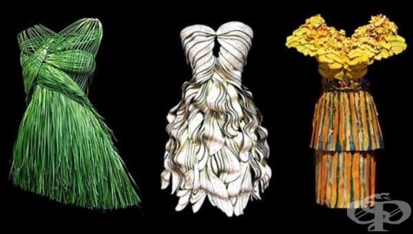 Изискана рокля от зелен лук, романтична рокля от патладжани и ежедневна рокля от тиква.