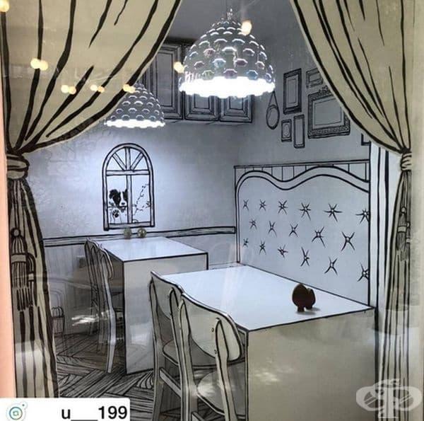 Къде другаде ще може да видите нарисувани пердета? Вероятно само в това кафене.