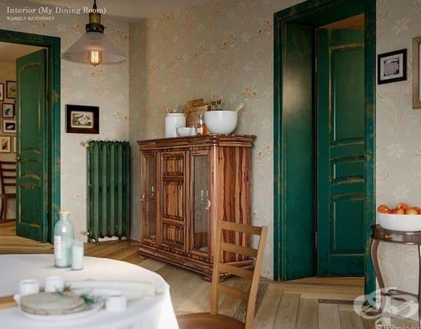 Тя е създадена през 1909 г., когато Кандински еволюира от фигуративно до абстрактно изкуство и картината на трапезарията показва тези особености. Платното е главно топло с червени, зелени и розови тонове, оформящи весела и щастлива атмосфера.
