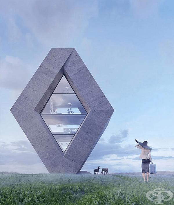 """Къщата """"Rhombhouse"""" е направена в стила на логото на Renault. Сградата е с площ 270 кв.м., а в центъра й е поставен огромен прозорец. Всекидневна, трапезария и библиотека са разположени на приземния етаж, а спалните по-нагоре."""