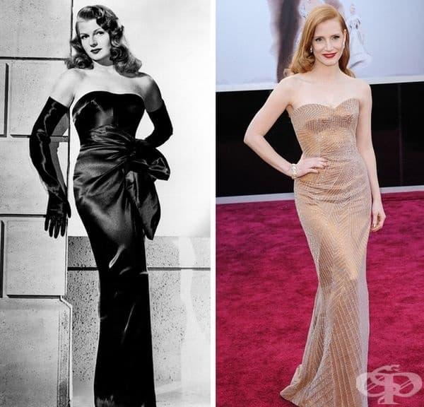 """Рита Хейуърт/Джесика Честън. Богинята на """"Златния век на Холивуд"""" Рита Хейуърт и нашата съвременна актриса Джесика Честен са перфектното въплъщение на холивудската класика. И двете дами харесват дълги стилни рокли с голи рамене."""