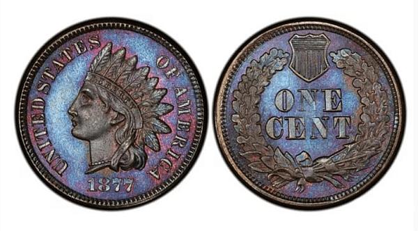 Цент с глава на индианец (1877 г.) Цена: 367-3,000 $. Този цент не е издаден по погрешка. Причината, поради която е толкова ценна е, че през 1877 г са направени много малко бройки от тях - само около 850 000 монети.
