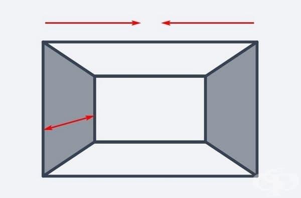 Но, ако искате да увеличите дълбочината и да намалите ширината, използвайте наситени цветове за страничните стени на стаята.