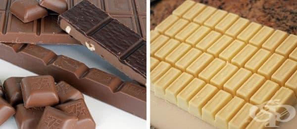 Белият шоколад не е шоколад. Белият шоколад е направен с какаово масло, сухо мляко и захар и не съдържа какаови частици, които придават на традиционните по-тъмни шоколади разпознаваемите вкус и цвят.