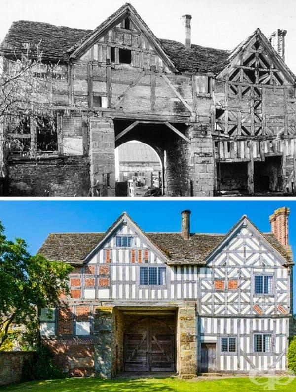 Реставрирана сграда от 17-ти век в Актън Бърнел, Шропшир, Англия. Единият ъгъл на сградата се е държал на старинна бутилка от вино, подкрепяща стълб.