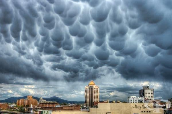 Кумулонимбус маматус облаци. Те се срещат предимно в Съединените щати. Образуват се от студен наситен въздух, по-тежък от околния въздух, който потъва, за да образува джобове. Свързват се с образуването на тропически циклон.