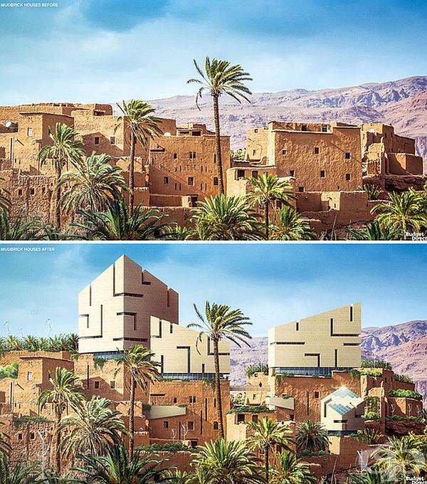Къщи Mudbrick в Древен Египет. Прозорците са проектирани така, че да запазят хладината в къщите. Домовете да уголемени с варовикови плоскости, който да блокират топлината отвън. Къщите са модернизирани с футуристични форми.